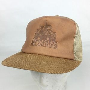 John Deere Hat Leather 50 Series Corduroy Vintage